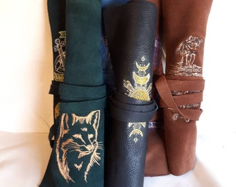 Leather scrollcase with embroidery for larp costume cosplay accessory medieval storytelling fantasy scribe renaissance faire sca roll paper
