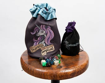 Large leather dice bag rpg gamerundead unicorn embroidery larp pouch tabletop dungeons dragons geek nerd gift costume accessory blue purple