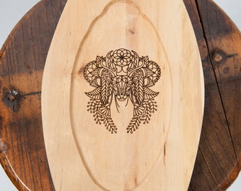 Wooden plate laser engraved stag image fantasy ren fair larp eating utensil medieval banquet feast costume accessory game of thrones sca