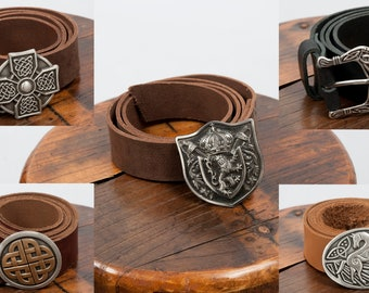 Long leather medieval belt with various trophy buckles fantasy larp costume cosplay renaissance faire clothing accessory celtic lion horse