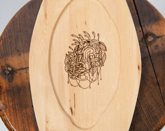 Wooden plate laser engraved rabbit image fantasy ren fair larp eating utensil medieval banquet feast costume accessory game of thrones sca