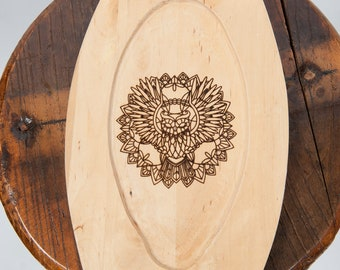 Wooden plate laser engraved owl image fantasy ren fair larp eating utensil medieval banquet feast costume accessory game of thrones sca