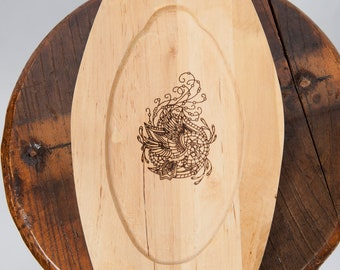 Wooden plate laser engraved raven image fantasy ren fair larp eating utensil medieval banquet feast costume accessory game of thrones sca