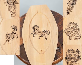 Wooden plate laser engraved animal image fantasy ren fair larp eating cooking medieval banquet feast costume accessory unicorn wolf dragon