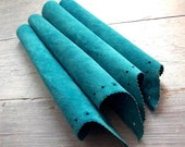Turquoise Suede, Vintage Animal Hide, Aqua Blue, 4 Pieces, Soft & Workable, Leather Destash, Decorative Edge, Free Shipping