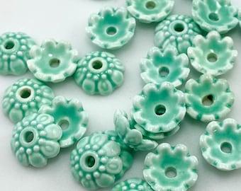 Organic Handmade Porcelain Bead Caps