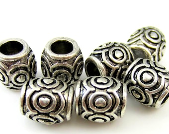 10 Antique silver beads textured metal large hole beads ethnic heart design HP848(R7),