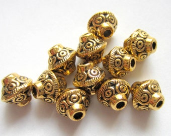 40 Antique gold beads tibetan spacer beads 7mm x  6mm jewelry supplies F1152-(X2),