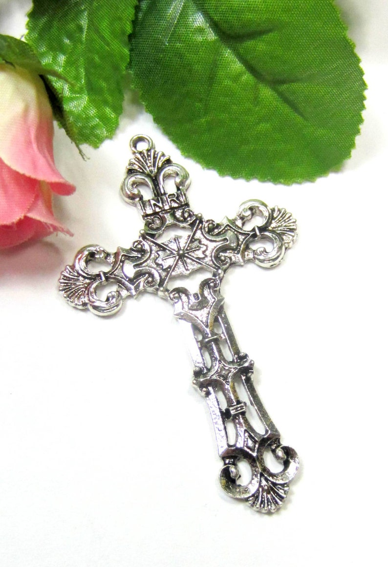 4 Silver antique cross pendant antiqued metal cross charms religious jewelry rosary supply 68mm x 42mm