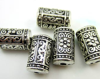 6 Antique silver beads textured metal beads large 17mm x 10mm ethnic design  HP023 (T3),