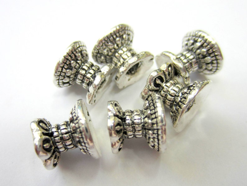 20 Double bead caps antique silver spacer beads jewelry making bead caps 9.5mm x 8mm jewelry making supplies