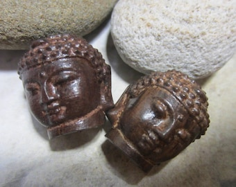 Carved Buddha head beads 25mm x 20mm wood carved Buddha yoga beads 2pc-BB2