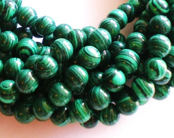 30 malachite green  glass beads 6mm jewelry supplies RUSG