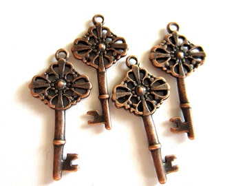8 Copper key charms jewelry pendants 28x12x2mm jewelry supplies