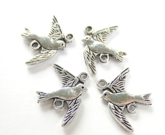 10 Flying Bird Charms for Bracelet Swallow Necklace Pendant Metal Antique Bronze