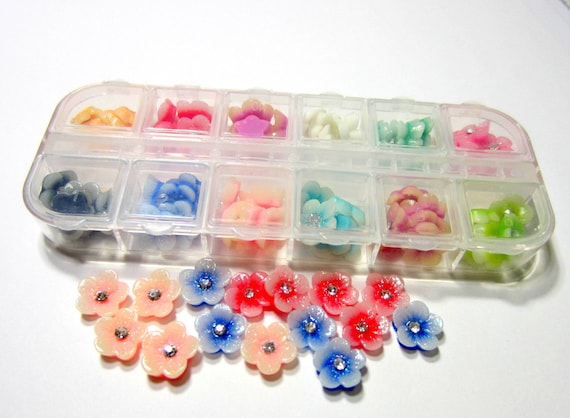 60 Resin Daisy Flowers Cabochon Flatback Assorted Color Nail Etsy