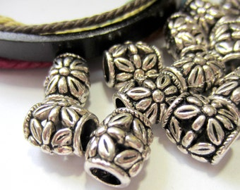 24 pc Metal beads antique silver textured spacers beads large hole 10mm x 11mm HP389 (Q2)