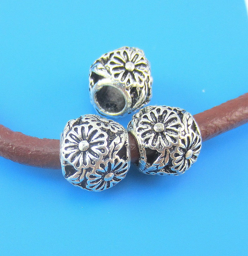 T6 8 Antique silver floral beads large metal beads large hole 11mm x 10mm ph 08as