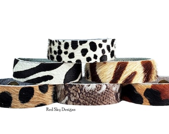 """Animal Print 1"""" Cowhide Bracelet- SINGLE - Choose Acid Wash/Animal Print Cowhide, Design Your Cowhide Cuff for Your One Of A Kind Cuff"""