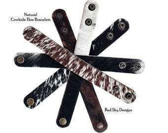 """Cowhide Bracelet -5/8"""" - SINGLE Cuff- Choose Natural Hair On Cowhide Cuff, Design Your Cowhide Cuff for Your One Of A Kind Cowhide Jewelry"""