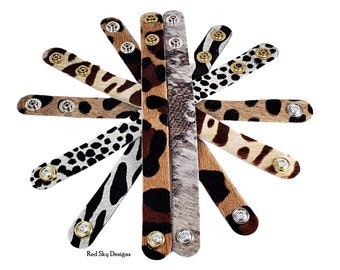 Swarovski Crystal Snaps on Cowhide Cuffs, SINGLE Cuff , Natural Cowhide, Animal Print or Acid Wash, Birthday or Leather Anniversary Gift
