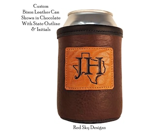 Custom Leather Can Holder, Personal 12oz Can Coolie, Custom Beer Gift, COORS® Size Beer Holder, Father's Day, Unique Custom Leather Gift