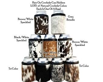 Cowhide Can Holder, Leather Beer Coolie, Standard 12oz or COORS® size Beer Holder, Leather Beverage Holder, Can Coolie, Beer Huggy, Stubby
