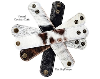 """Cowhide Bracelet -1 1/2"""" -PICK Colors- Pack of 5- Choose Natural Hair On Cowhide Cuff, Create One Of A Kind Beautiful Leather Jewelry Cuffs"""