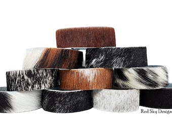 """Cowhide Bracelet -1"""" - SINGLE Cuff- Choose Natural Hair On Cowhide Cuff, Design Your Cowhide Cuff for Your One Of A Kind Cowhide Jewelry"""