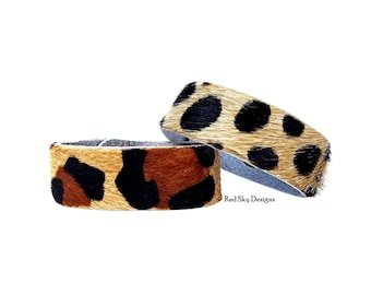 """Animal Print 5/8"""" Cowhide Bracelet- SINGLE - Choose Acid Wash/Animal Print Cowhide, Design Your Cowhide Cuff for Your One Of A Kind Cuff"""