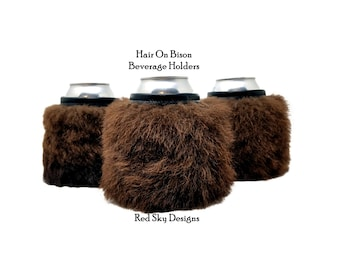 Bison Can Holder, Rugged Beer Gift, Manly Can Holder, Bison Hair On Bottle Holder, Unique Can Holder, Beer Bottle Holder, Man Cave Beer