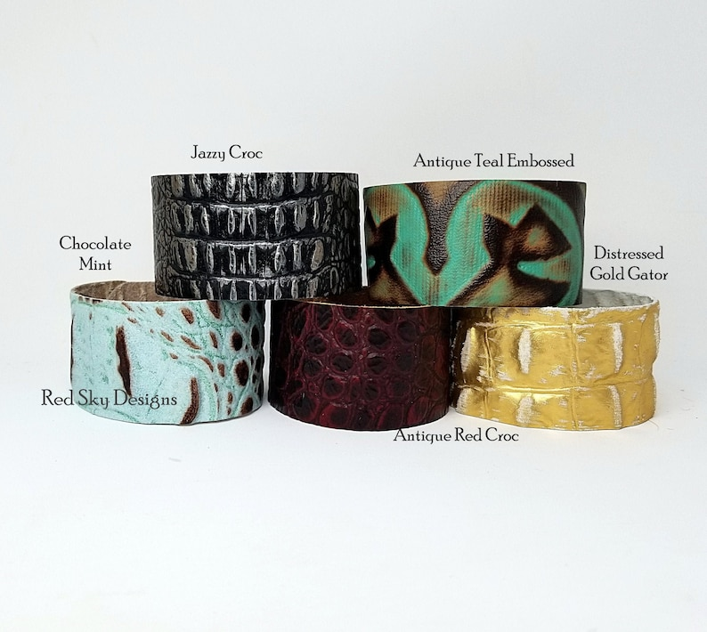 EMBOSSED Reptile Leather Bracelet  PACK OF 5  Embossed image 0