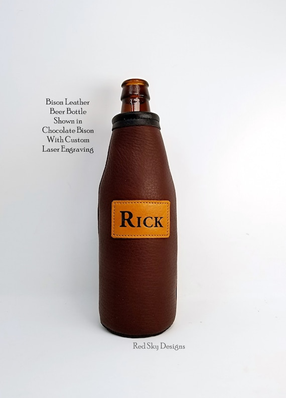 Personalized Can Cooler CUSTOM Bison Leather Can Holder