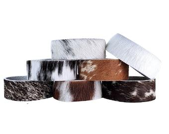"Thin Cowhide Bracelet – 3/4"" Width - PACK OF 5- VARIETY Natural Hair On Cowhides, Fun, Skinny Cowhide Bracelets, Perfect for Bracelet Stacks"