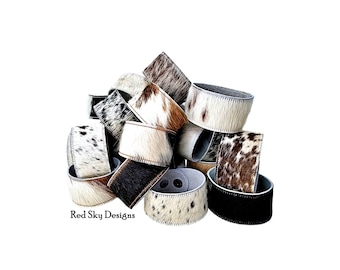 """Cowhide Bracelet -1 1/4"""" - SINGLE Cuff- Choose Natural Hair On Cowhide Cuff, Design Your Cowhide Cuff for Your One Of A Kind Cowhide Jewelry"""