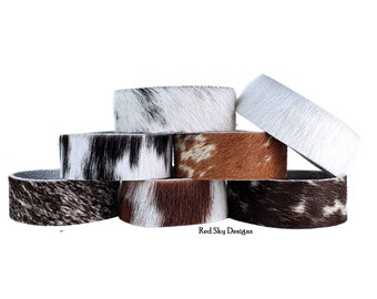 """Cowhide Bracelet -3/4"""" - SINGLE Cuff- Choose Natural Hair On Cowhide Cuff, Design Your Cowhide Cuff for Your One Of A Kind Cowhide Jewelry"""