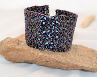 Luxurious Blue Beadwoven Wide Cuff with Swarovski Crystals and Czech Glass Button