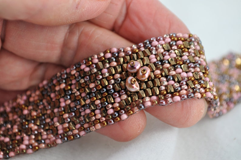 Pink Brown Cobblestone Path Bracelet Band Cuff With Bronze Button and Keishi Pearls