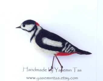Felted Great Spotted Woodpecker Brooch