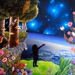 "Blue Planet + Art Print by Thailan When 11""x11"""