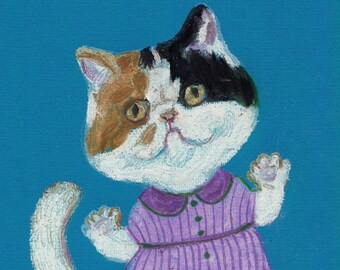 in love cat  - ORIGINAL ILLUSTRATION / cats drawing pink and red  / Colored pencil drawings / lady cat art