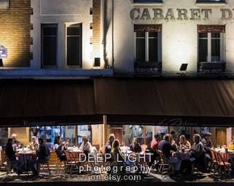 Paris Photograph Montmartre Cafe Scene Photo Bistro Restaurant Paris Decor Wall Art Panoramic Print nat204