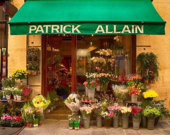 Paris Photo Flower Shop Photograph France Print Neutral Colors Gold Yellow Paris Decor Wall Art Home Decor par142
