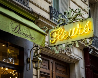 Photo of a flower shop sign in Paris, Flowers Photography France Print Green Yellow Paris Decor Wall Art par119