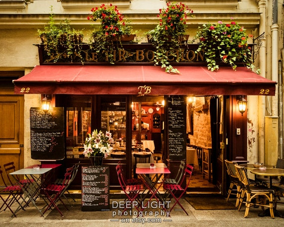 Paris Bistro Photograph Outdoor cafe Photo Paris Restaurant Paris Street scene Decor Flowers Red Wall Art par163