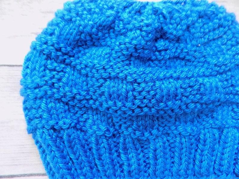 Newborn Baby Hat Blue Knit Beanie Textured Knit Hat