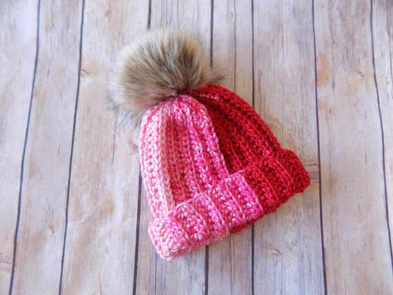 3-6 Month Old Winter Hat Pink Red Pom Pom Hat Hat with Fur  4e9c290cafc