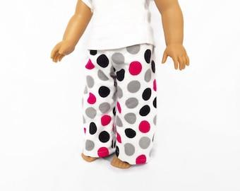 Polka Dot Doll Pajama Pants, 18 Inch Doll Clothes, Toys
