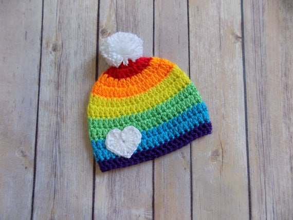 Regenbogen Mütze Baby Mütze Häkeln Baby Beanie Bunte Baby Etsy