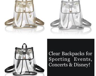 Stadium Concert Approved Monogrammed Clear Backpack Trimmed in Gold 4d57f1265af26
